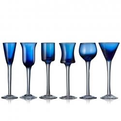 Lyngby Snapseglas 6 stk Blå