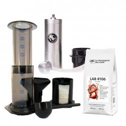AeroPress Resebryggare Inkl. Rhinowares Kaffekvarn och 250 g Kaffe
